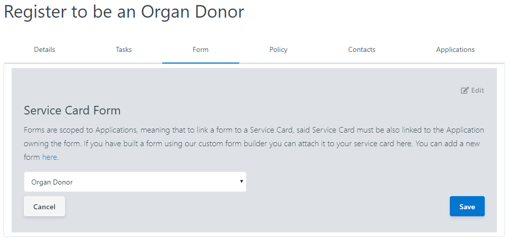 Setting a form on a Service Card