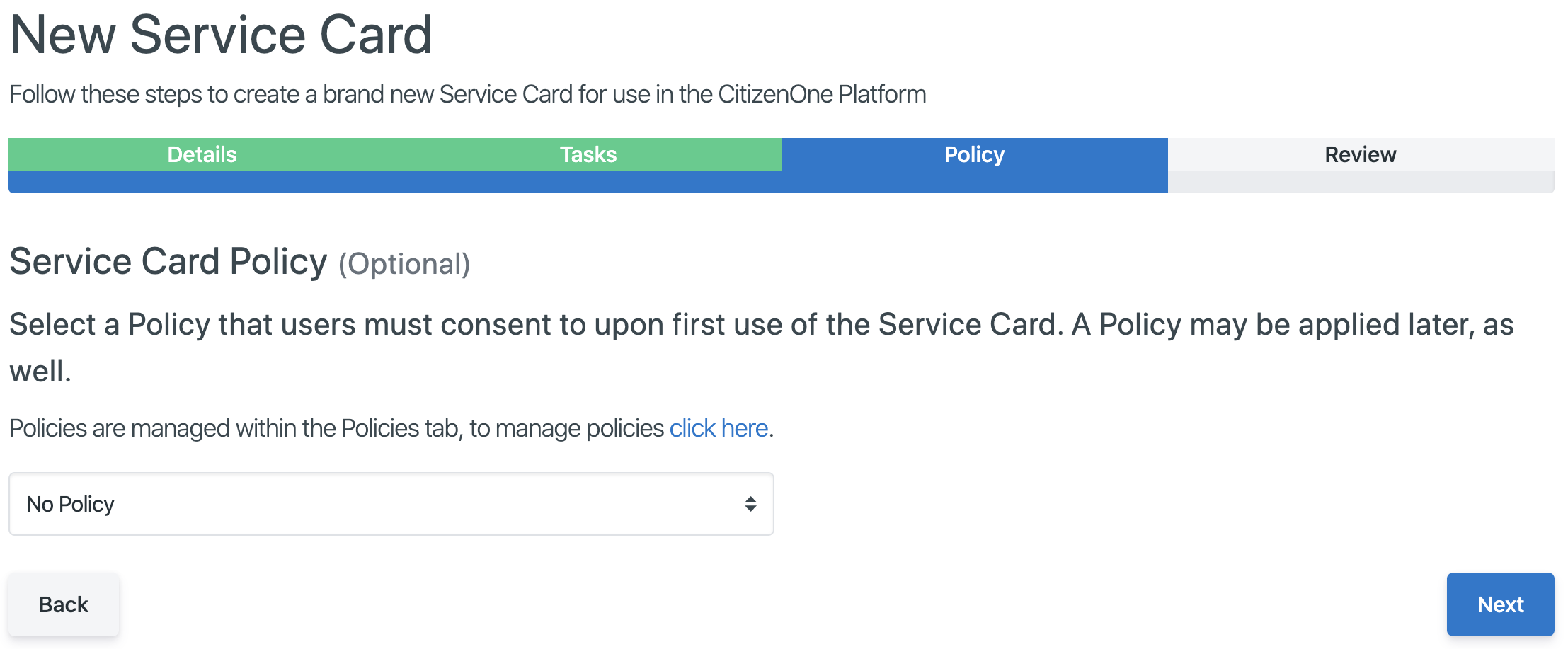 Setting a Policy on a Service Card
