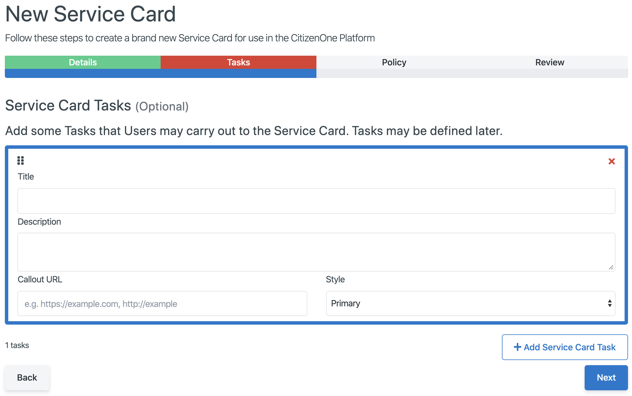 Creating a new Task for a Service Card