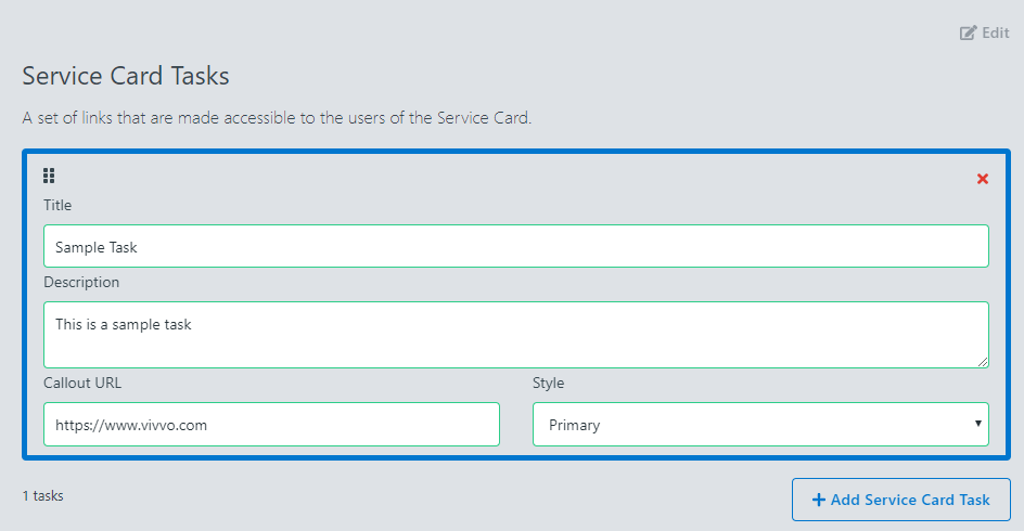 Removing Tasks on a Service Card